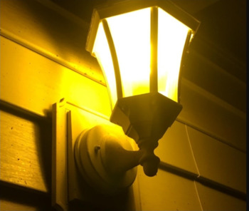 Yellow bulb in porch light
